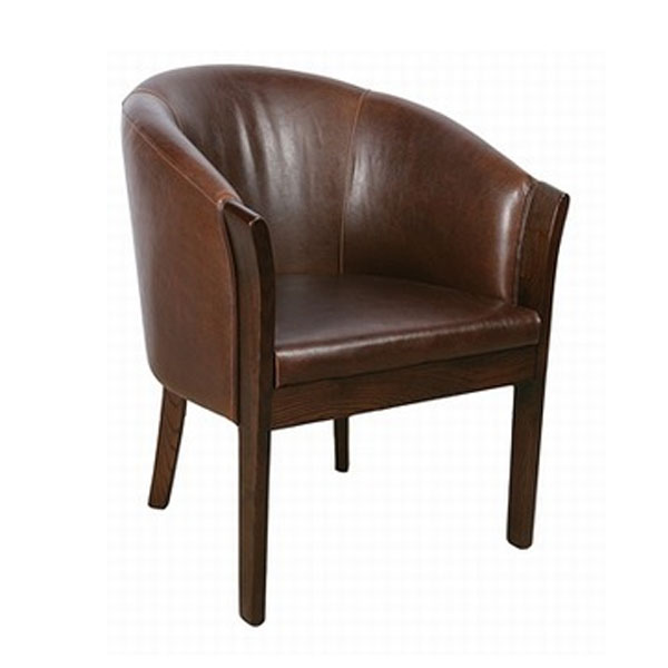Sager Real Leather Tub Chair Contract Furniture
